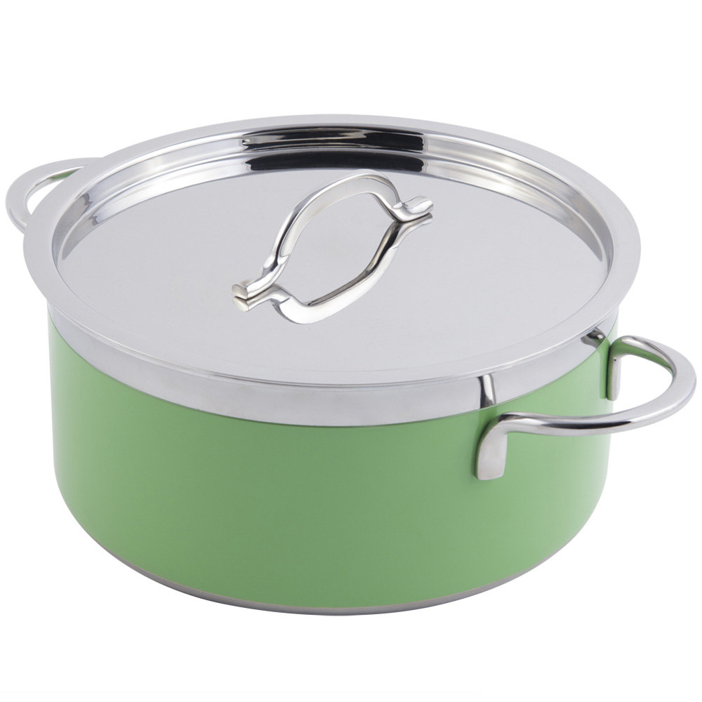 Bon Chef 60299 Classic Country French Collection 1.7 Qt. Green Pot with Cover