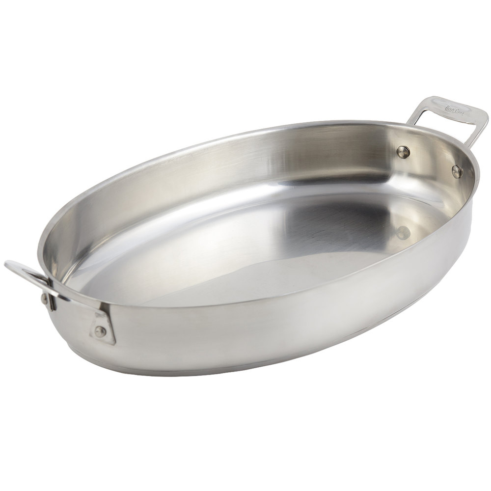 Bon Chef 60018 Cucina 4 Qt. Stainless Steel Oval Au Gratin