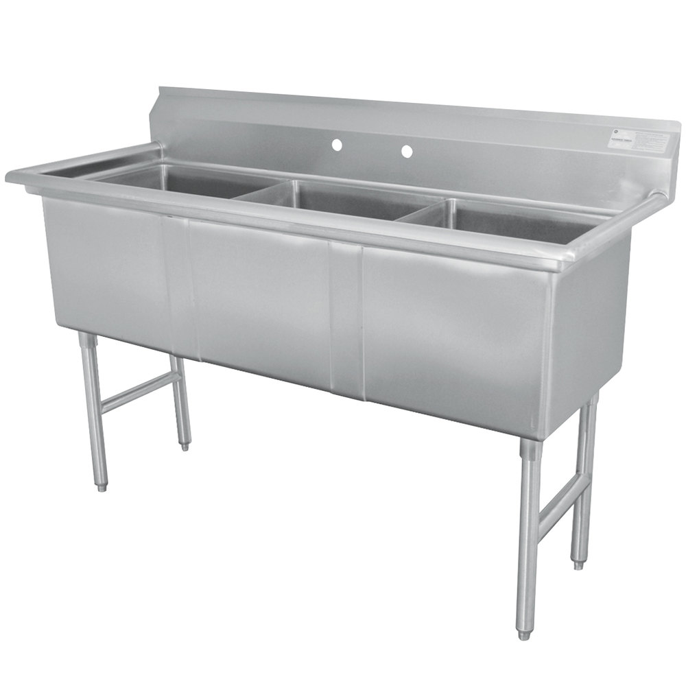 Advance Tabco FC-3-1824 Three Compartment Stainless Steel Commercial Sink - 59""