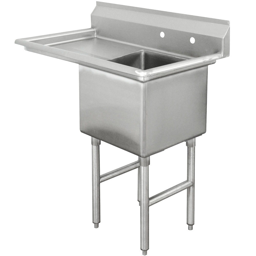 Advance Tabco FC-1-1824-18 One Compartment Stainless Steel Commercial Sink with One Drainboard - 38 1/2""