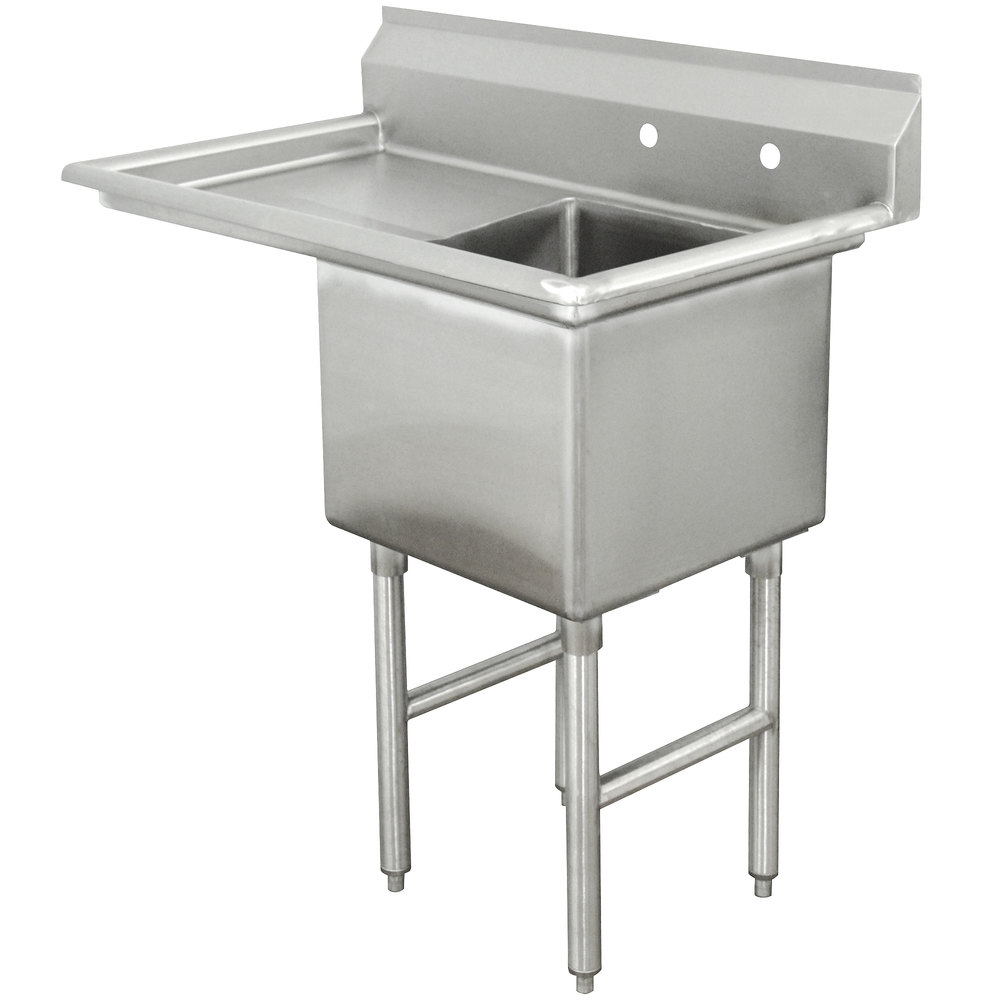 Advance Tabco FC-1-2424-18 One Compartment Stainless Steel Commercial Sink with One Drainboard - 45""