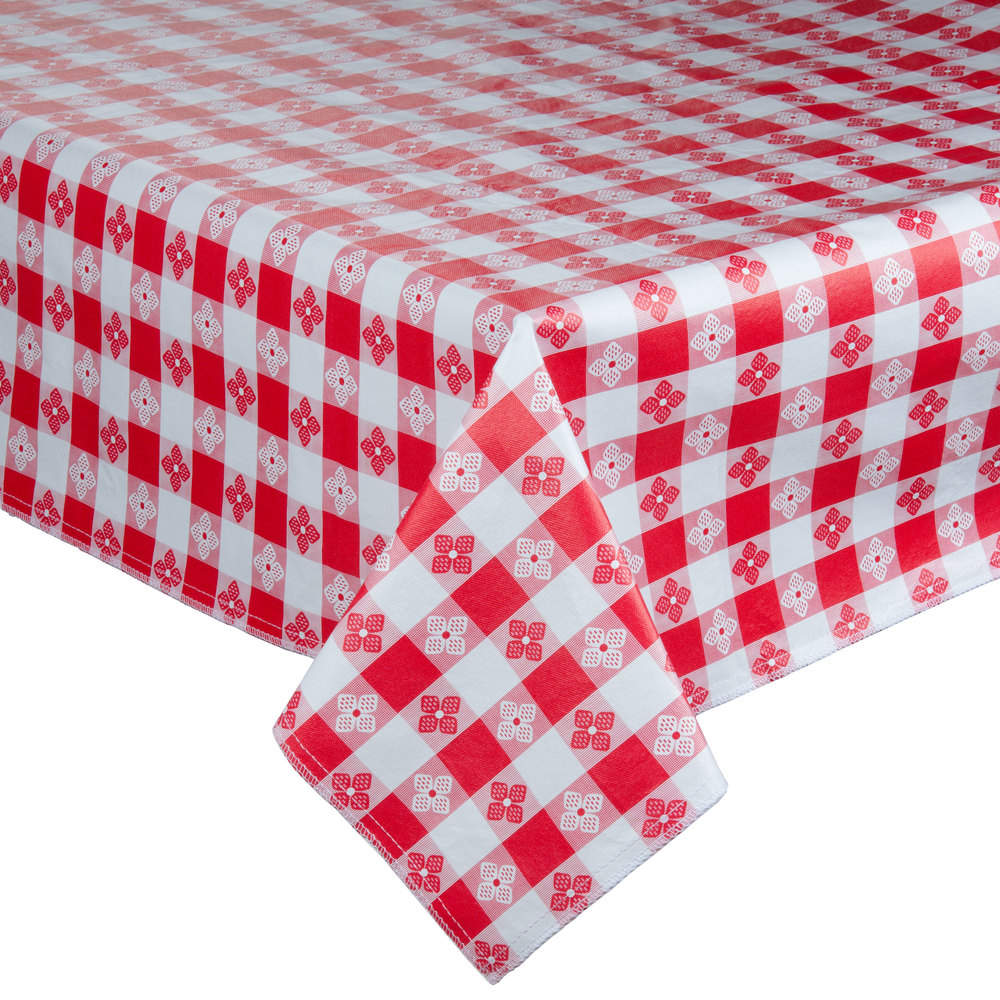 "72"" x 72"" Red-Checkered Vinyl Table Cover with Flannel Back"