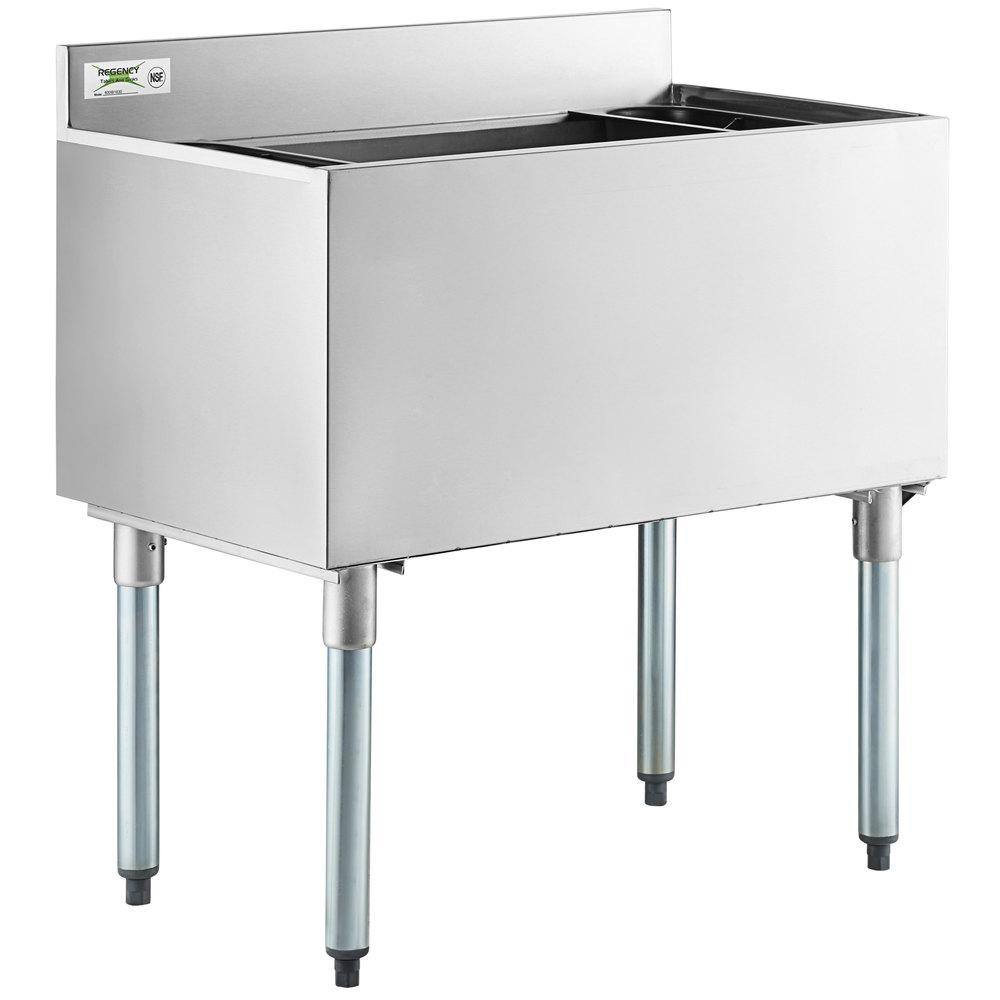 Regency 18 inch x 30 inch Underbar Ice Bin - 98 lb.