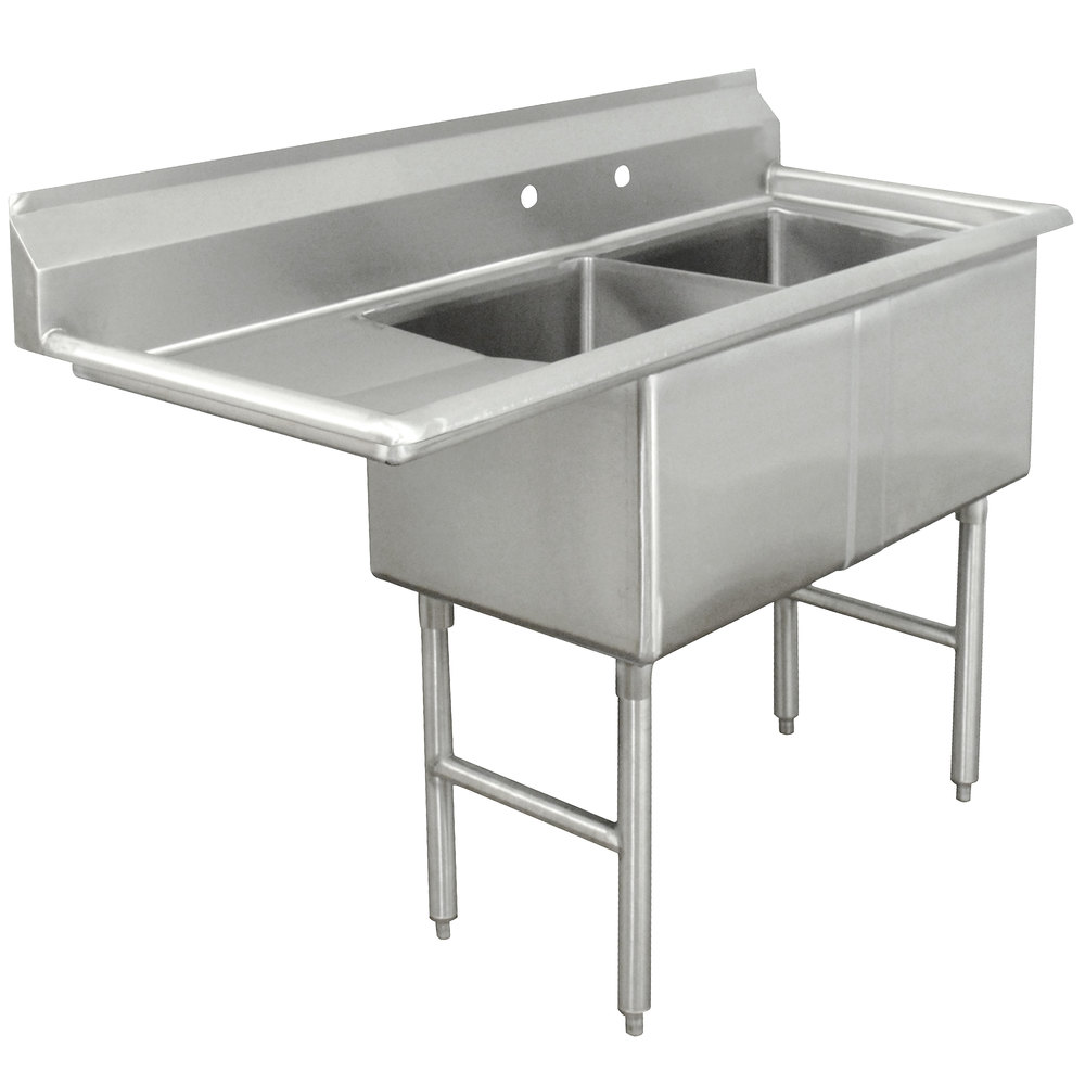 Advance Tabco FC-2-1824-24 Two Compartment Stainless Steel Commercial Sink with One Drainboard - 62 1/2""