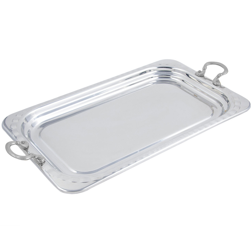 "Bon Chef 5607HRSS 22"" x 14"" x 1"" Stainless Steel 4.5 Qt. Full Size Rectangular Arches Design Food Pan with Round Stainless Steel Handles"