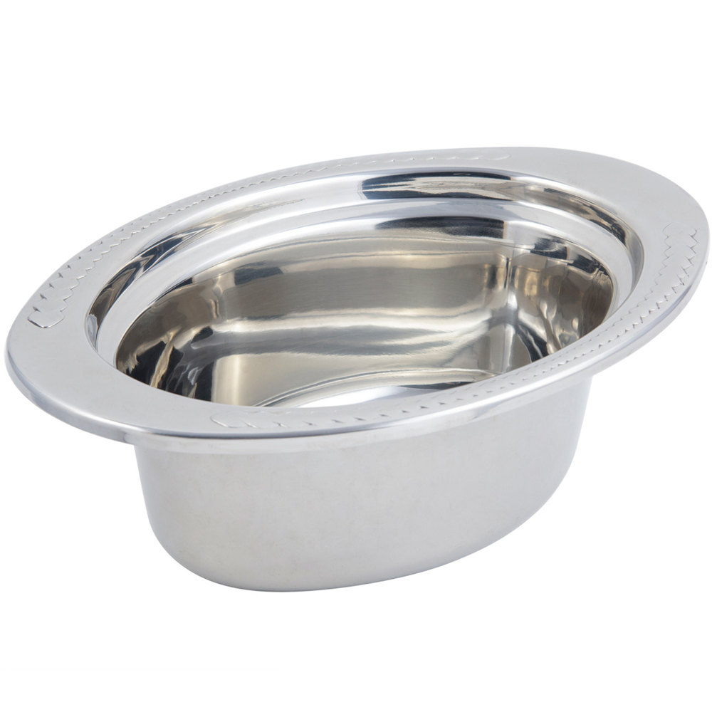"Bon Chef 5403 13"" x 9"" x 5"" Stainless Steel 3.75 Qt. Laurel Design Full Size Oval Food Pan"