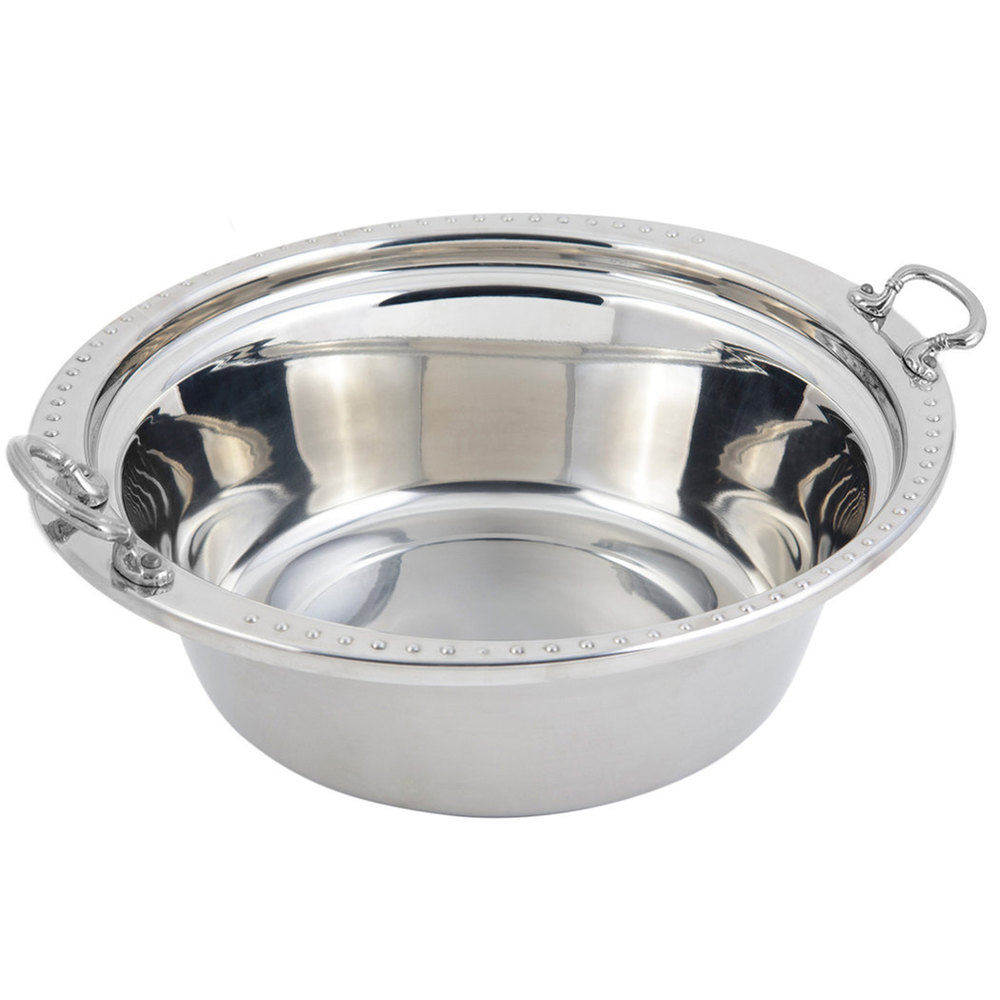 "Bon Chef 5356HRSS 13"" x 12"" x 4"" Stainless Steel 4 Qt. Bolero Design Casserole Food Pan with Round Stainless Steel Handles"