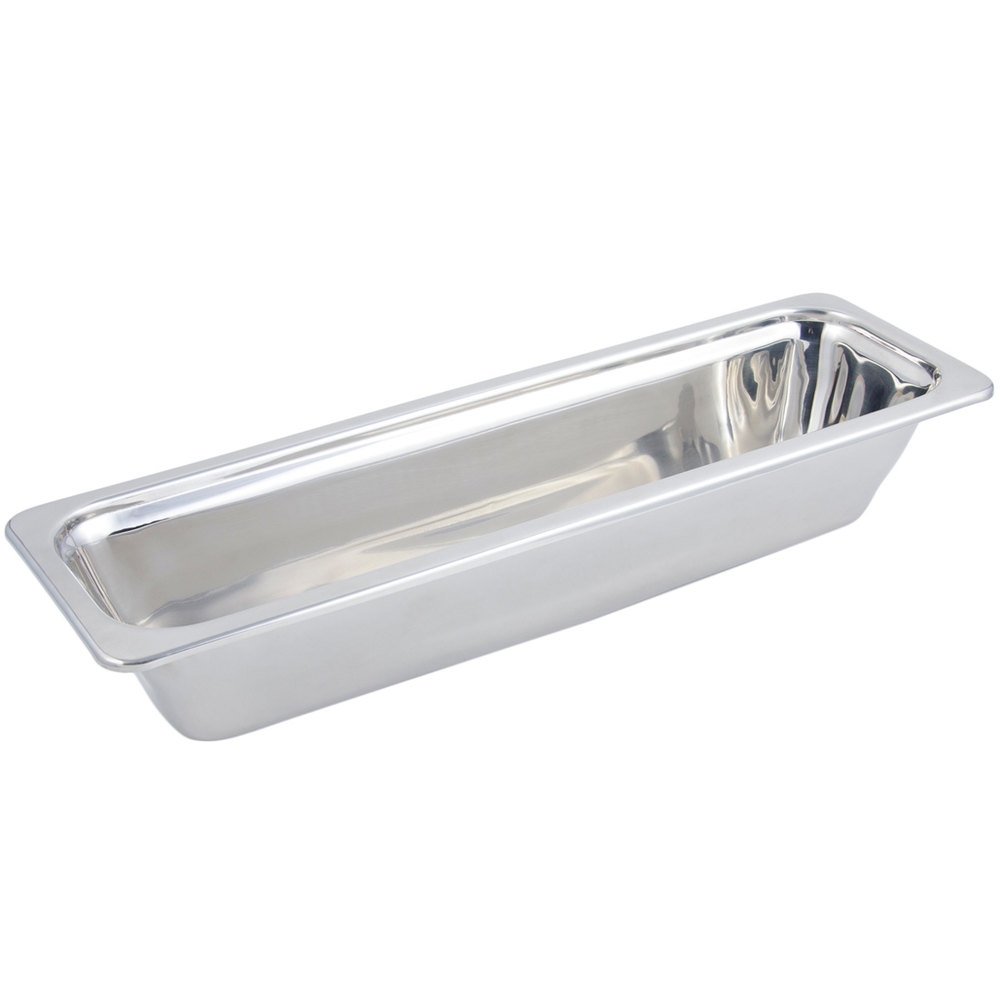 "Bon Chef 5212 21"" x 7"" x 4"" Stainless Steel 4 Qt. Half Size Long Rectangular Plain Design Food Pan"