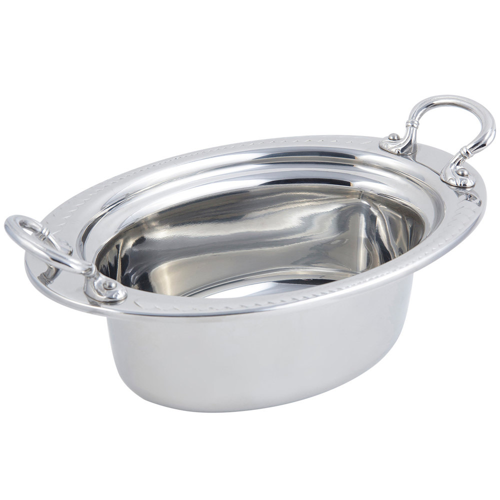 "Bon Chef 5403HRSS 13"" x 9"" x 5"" Stainless Steel 3.75 Qt Full Size Oval Laurel Design Food Pan with Round Stainless Steel Handles"