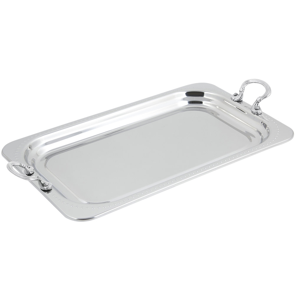 "Bon Chef 5307HRSS 22"" x 14"" x 1"" Stainless Steel 4.5 Qt. Full Size Rectangular Bolero Design Food Pan with Round Stainless Steel Handles"