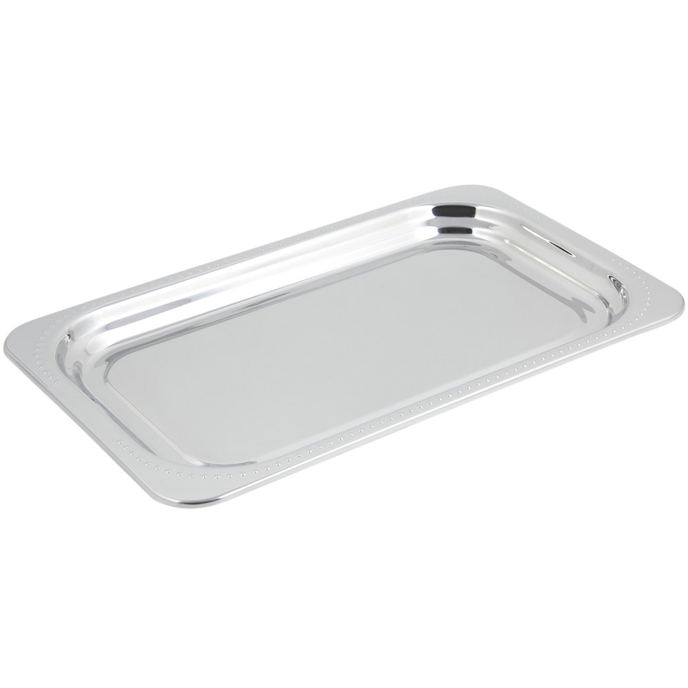 "Bon Chef 5307 22"" x 14"" x 1"" Stainless Steel 4.5 Qt. Full Size Rectangular Bolero Design Food Pan"
