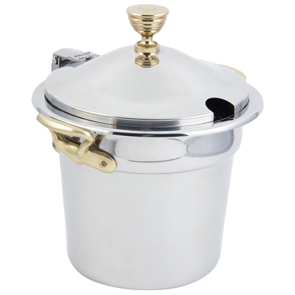 "Bon Chef 5211WHCHR 10 5/8"" x 8 1/4"" Stainless Steel 7 Qt. Plain Design Soup Tureen with Hinged Cover and Round Brass Handles"