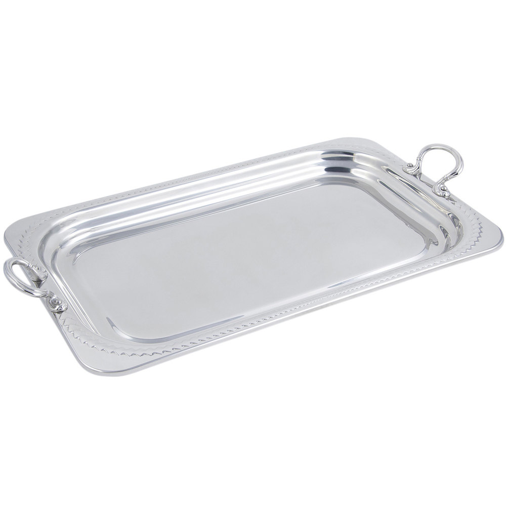 "Bon Chef 5407HRSS 22"" x 14"" x 1"" Stainless Steel 4.5 Qt. Full Size Rectangular Laurel Design Food Pan with Round Stainless Steel Handles"