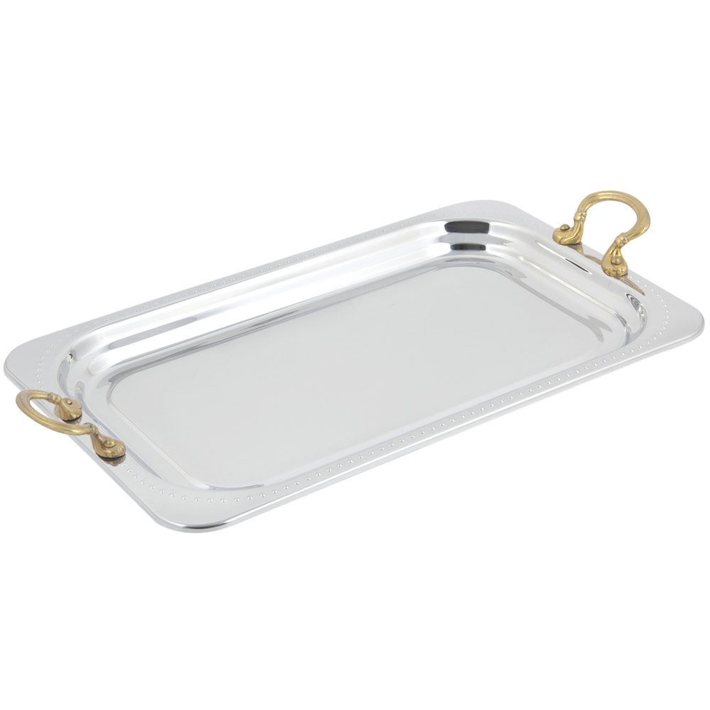 "Bon Chef 5307HR 22"" x 14"" x 1"" Stainless Steel 4.5 Qt. Full Size Rectangular Bolero Design Food Pan with Round Brass Handles"