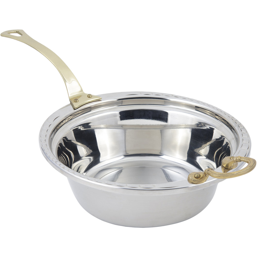 "Bon Chef 5656HL 13"" x 12"" x 4"" Stainless Steel 4 Qt. Arches Design Casserole Food Pan with Long Brass Handle"