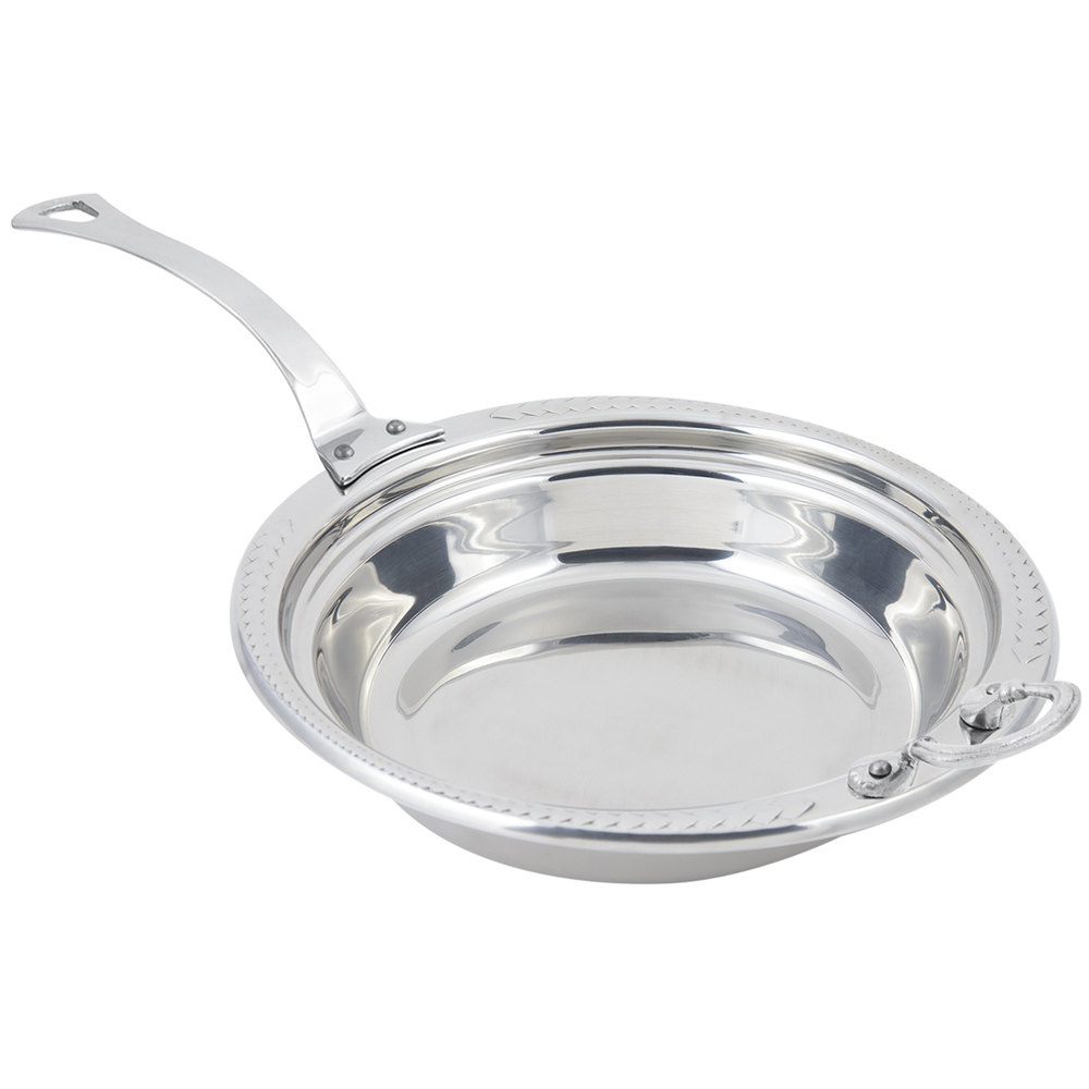 "Bon Chef 5455HLSS 13"" x 12"" x 4"" Stainless Steel 2.5 Qt. Casserole Laurel Design Food Pan with Long Stainless Steel Handle"