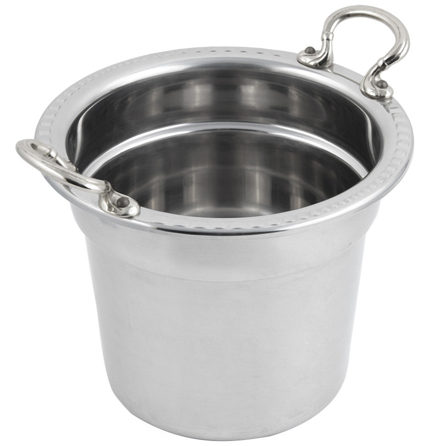 "Bon Chef 5611HRSS 10 5/8"" x 8 1/4"" Stainless Steel 7 Qt. Arches Design Soup Tureen with Round Stainless Steel Handles"