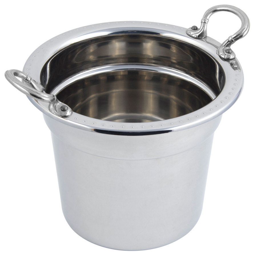"Bon Chef 5311HRSS 10 5/8"" x 8 1/4"" Stainless Steel 7 Qt. Bolero Design Soup Tureen with Round Stainless Steel Handles"