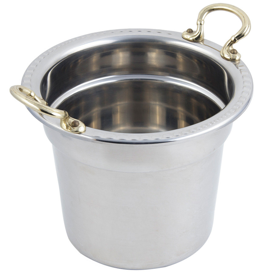 "Bon Chef 5611HR 10 5/8"" x 8 1/4"" Stainless Steel 7 Qt. Arches Design Soup Tureen with Round Brass Handles"