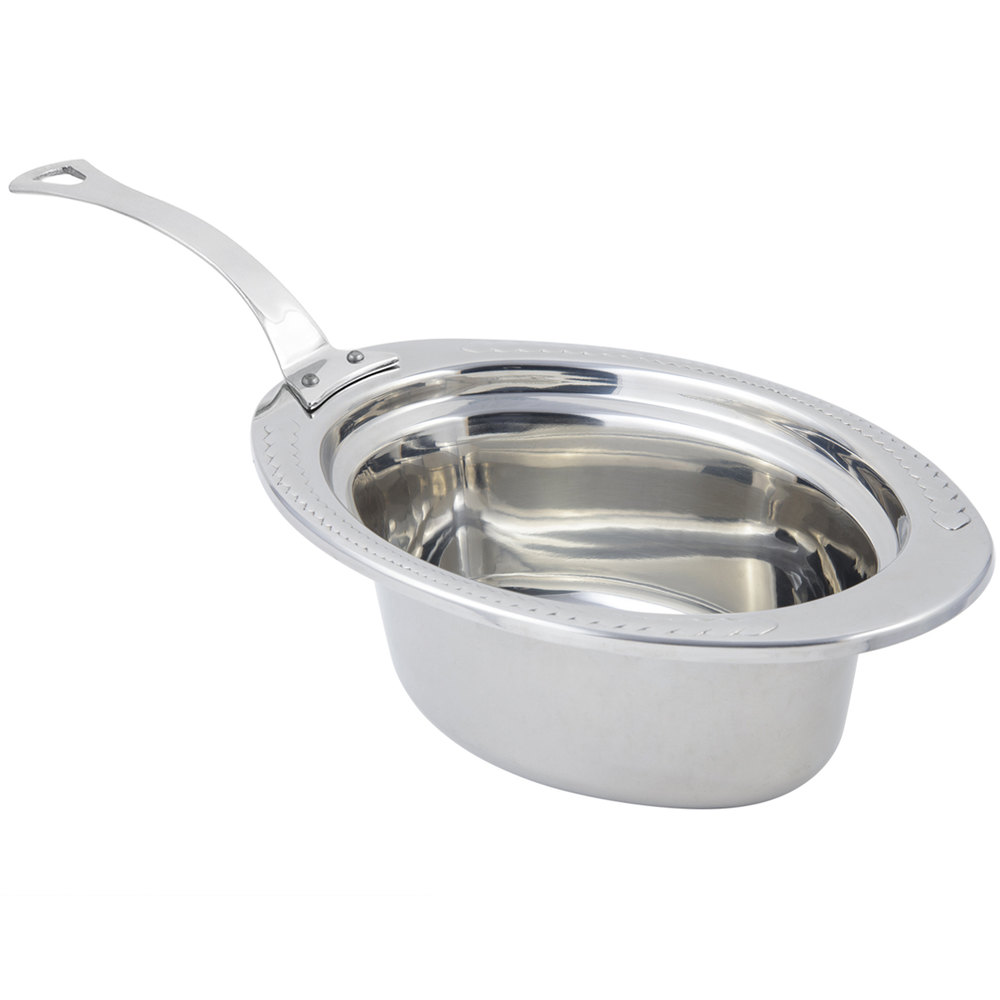 "Bon Chef 5403HLSS 13"" x 9"" x 5"" Stainless Steel 3.75 Qt. Full Size Oval Laurel Design Food Pan with Long Stainless Steel Handle"