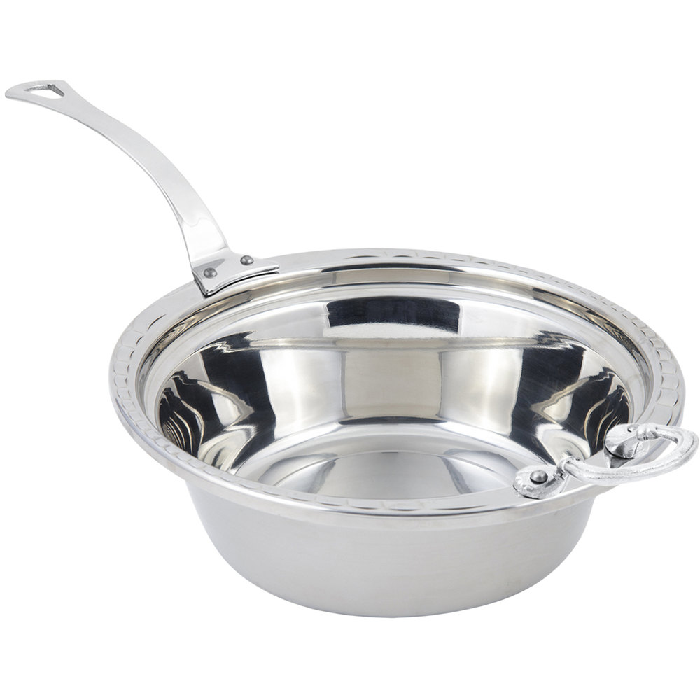 "Bon Chef 5656HLSS 13"" x 12"" x 4"" Stainless Steel 4 Qt. Arches Design Casserole Food Pan with Long Stainless Steel Handle"