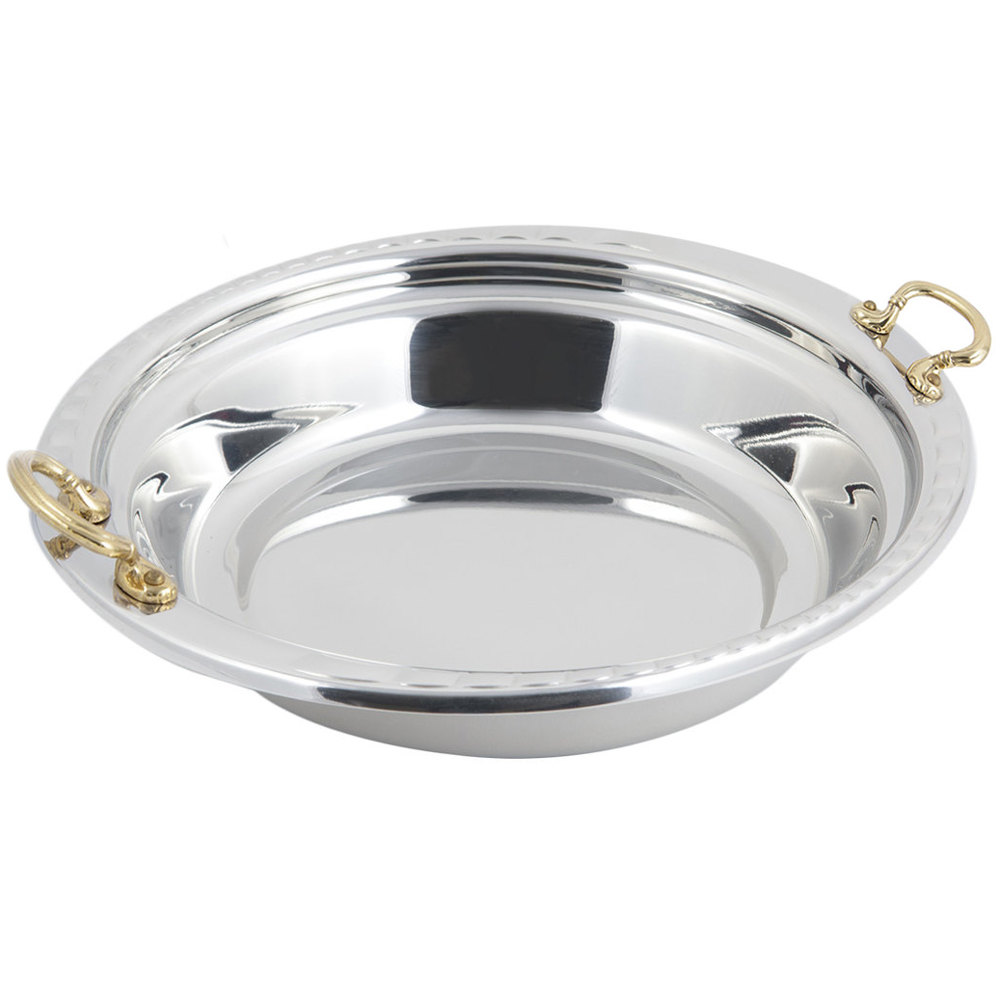 "Bon Chef 5655HR 13"" x 12"" x 3"" Stainless Steel 2.5 Qt. Arches Design Casserole Food Pan with Round Brass Handles"