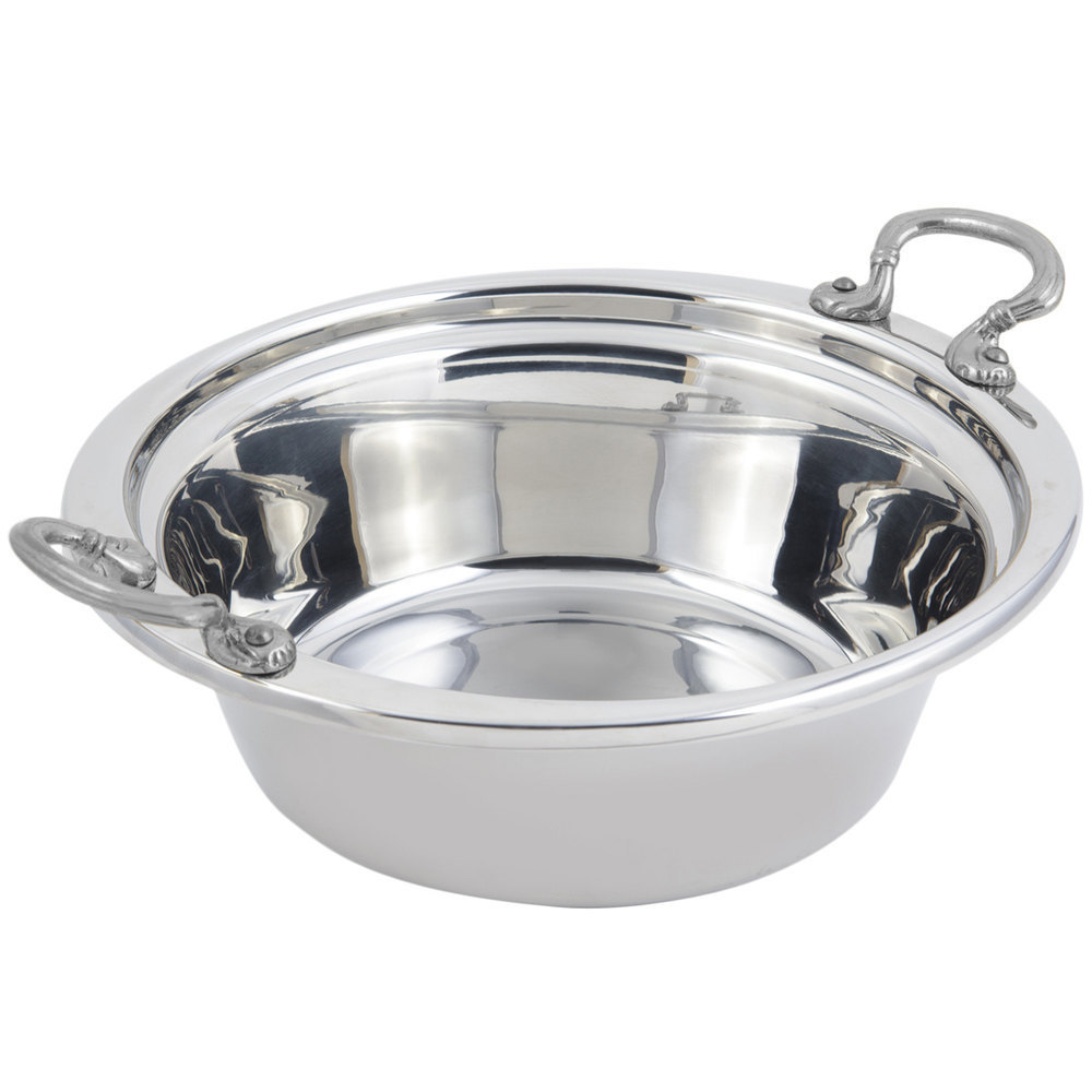 "Bon Chef 5256HRSS 13"" x 12"" x 4"" Stainless Steel 4 Qt. Plain Design Casserole Food Pan with Round Stainless Steel Handles"