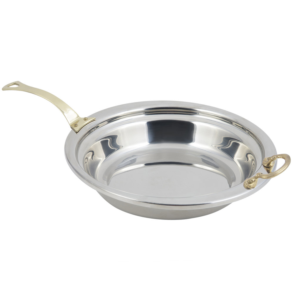 "Bon Chef 5255HL 13"" x 12"" x 3"" Stainless Steel 2.5 Qt. Plain Design Casserole Food Pan with Long Brass Handle"