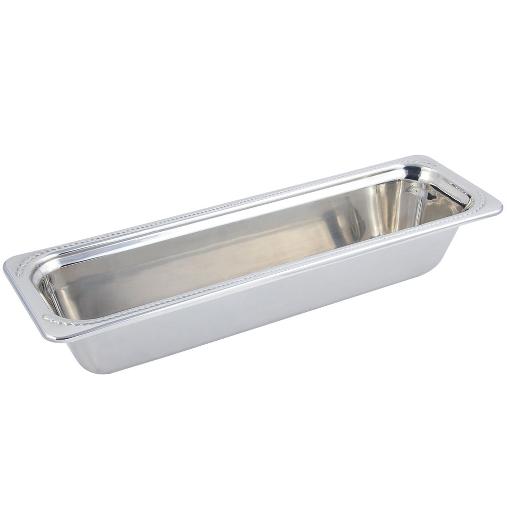 "Bon Chef 5412 21"" x 7"" x 4"" Stainless Steel 4 Qt. Half Size Long Rectangular Laurel Design Food Pan"