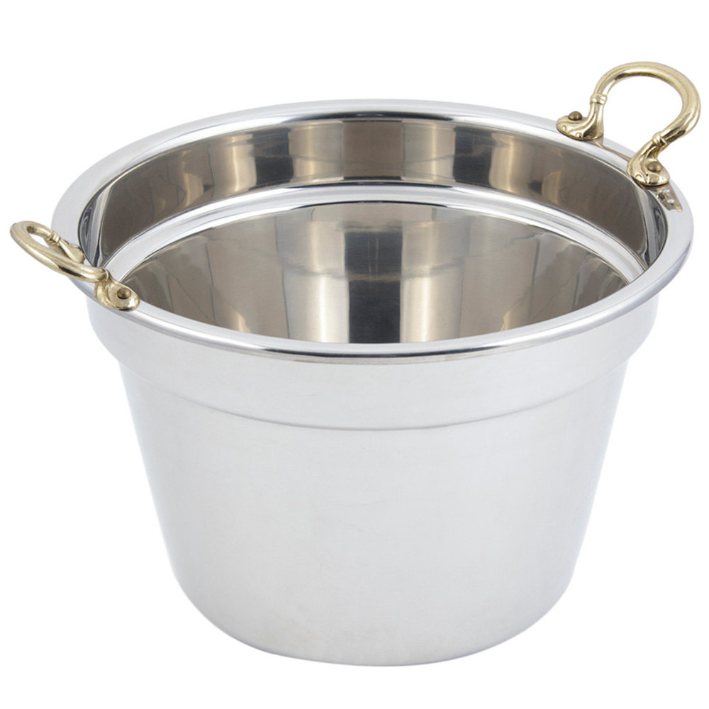 "Bon Chef 5214HR 12"" x 8"" Stainless Steel 11 Qt. Plain Design Soup Tureen with Round Brass Handles"