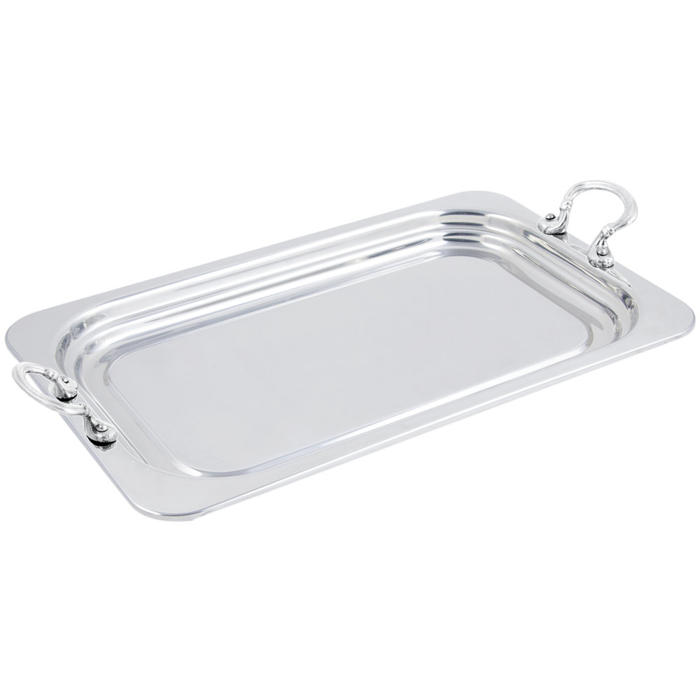 "Bon Chef 5207HRSS 22"" x 14"" x 1"" Stainless Steel 4.5 Qt. Full Size Rectangular Plain Design Food Pan with Round Stainless Steel Handles"
