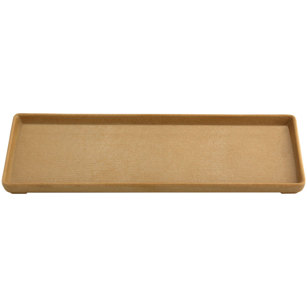 "Elite Global Solutions ECO412 Greenovations 12 1/8"" x 4 1/4"" Rattan-Colored Rectangular Tray"