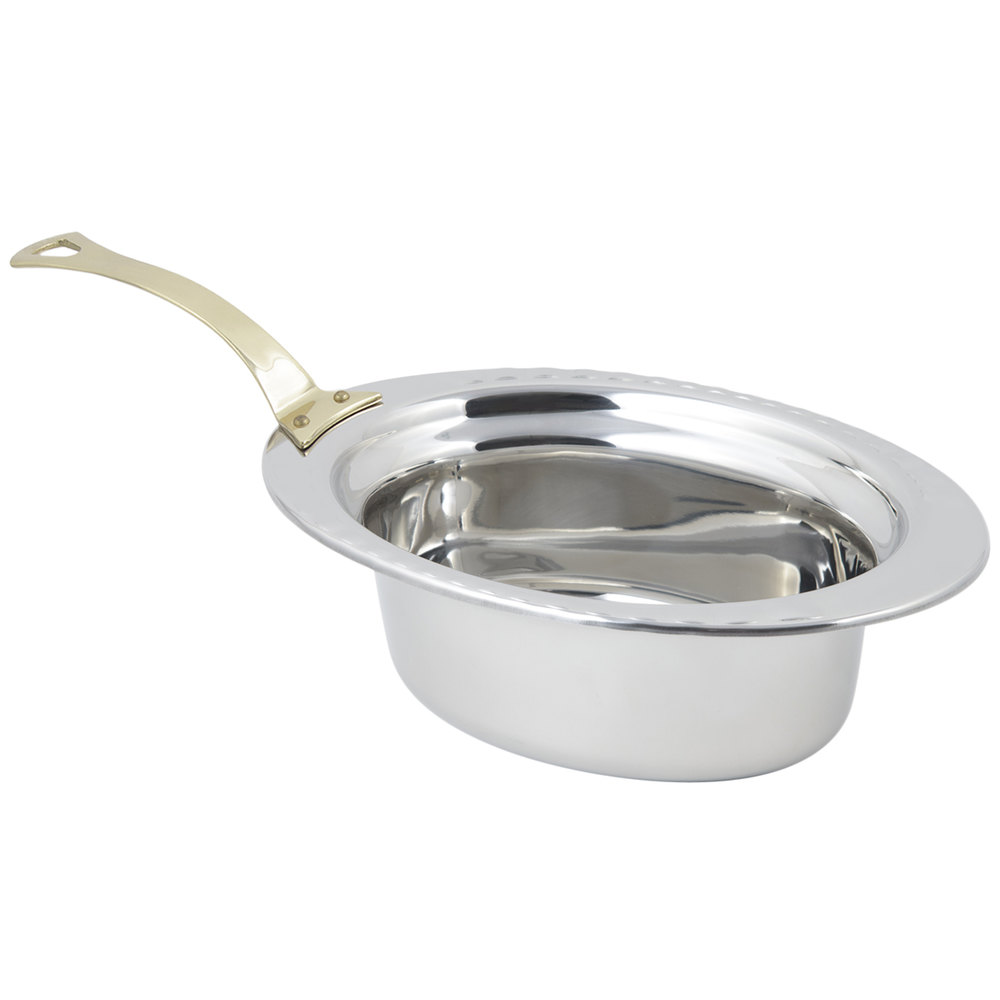 "Bon Chef 5603HL 13"" x 9"" x 5"" Stainless Steel 3.75 Qt. Full Size Oval Arches Design Food Pan with Long Brass Handle"