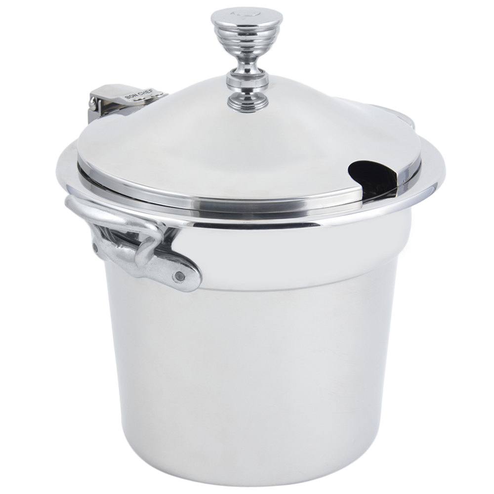 "Bon Chef 5211CHRSS 10 5/8"" x 8 1/4"" Stainless Steel 7 Qt. Plain Design Soup Tureen with Chrome Accents and Round Stainless Steel Handles"