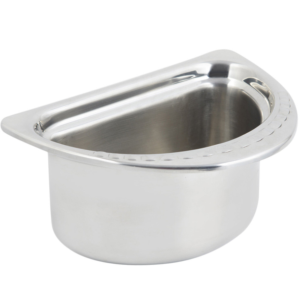 "Bon Chef 5602 7"" x 9"" x 5"" Stainless Steel 1 Qt. Half Size Arches Design Oval Food Pan"