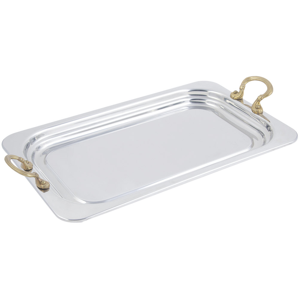 "Bon Chef 5207HR 22"" x 14"" x 1"" Stainless Steel 4.5 Qt. Full Size Rectangular Plain Design Food Pan with Round Brass Handles"