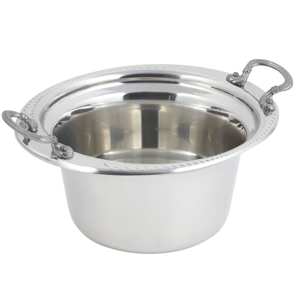 "Bon Chef 5450HRSS 10"" x 9"" x 5"" Stainless Steel 2 Qt. Casserole Laurel Design Food Pan with Round Stainless Steel Handles"