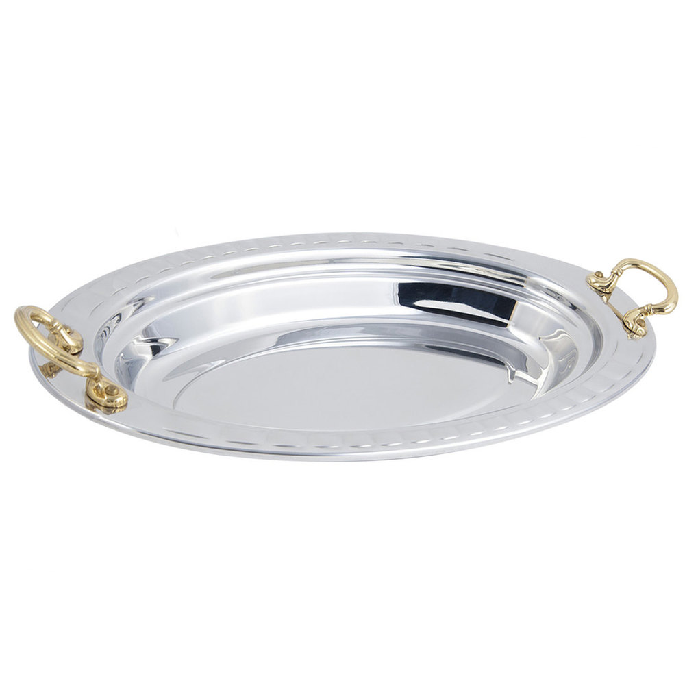 "Bon Chef 5688HR 19"" x 11"" x 2"" Stainless Steel 2.5 Qt. Arches Design Oval Food Pan with Round Brass Handles"