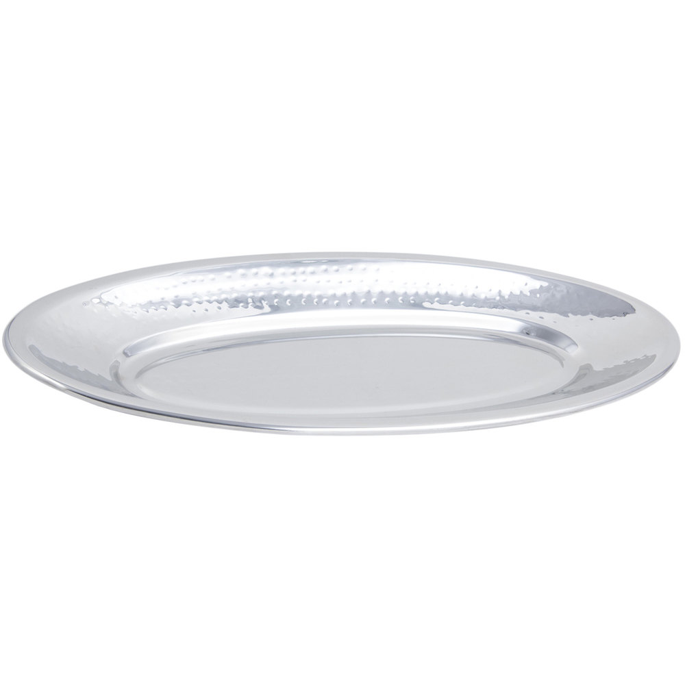 "Bon Chef 5218H 21 1/4"" x 8 3/4"" x 1 1/2"" Stainless Steel Hammered Finish Fish Platter"