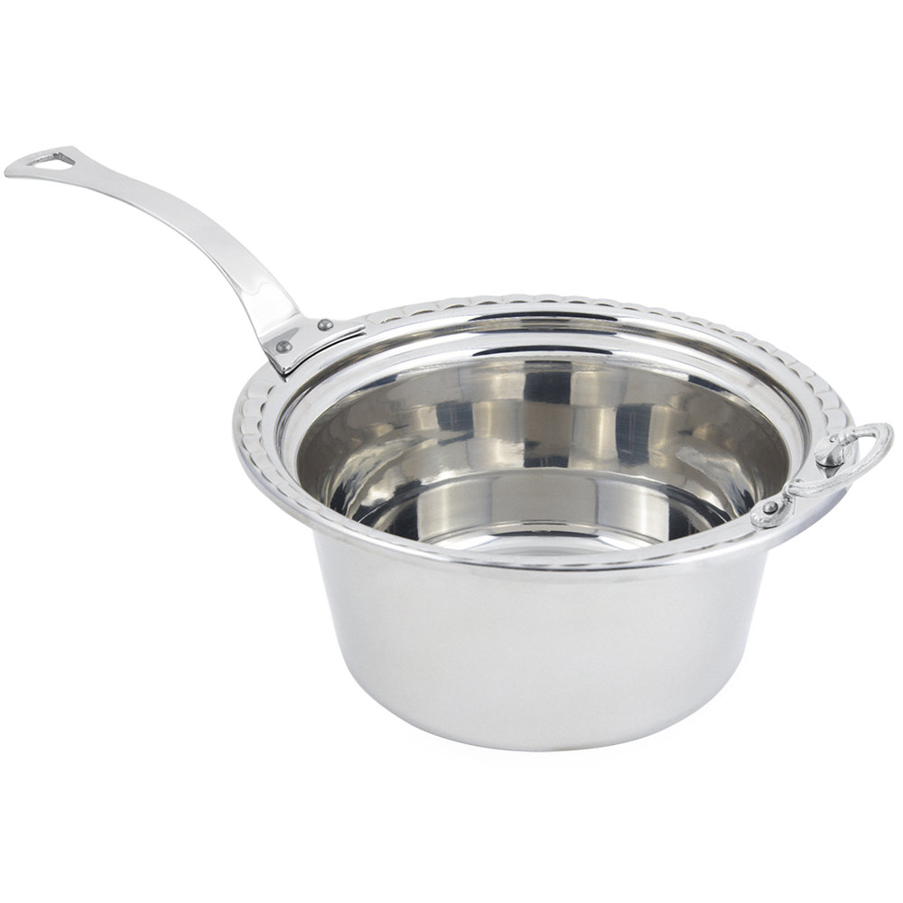 "Bon Chef 5660HLSS 12"" x 12"" x 6"" Stainless Steel 5 Qt. Arches Design Casserole Food Pan with Long Stainless Steel Handle"