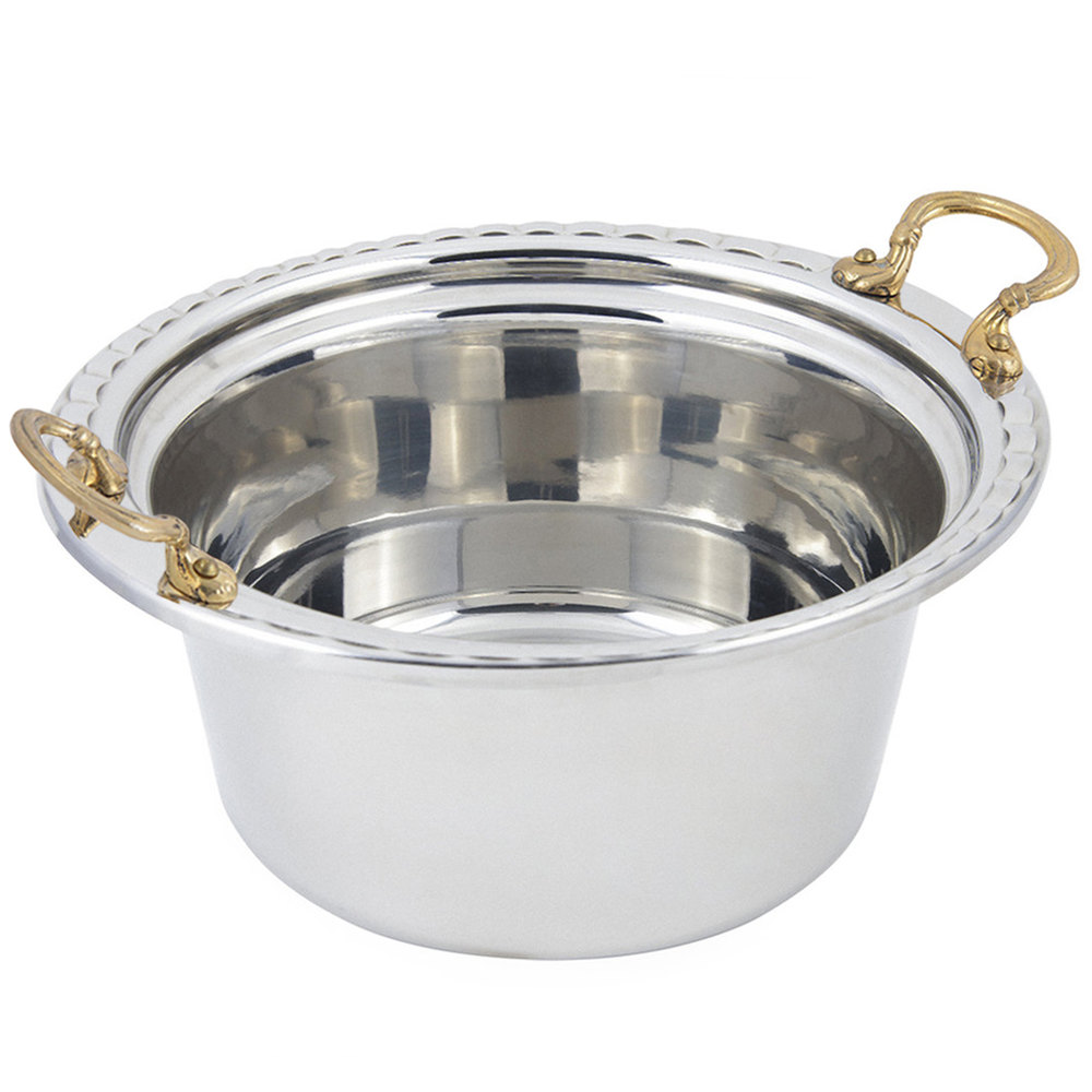 "Bon Chef 5660HR 12"" x 12"" x 6"" Stainless Steel 5 Qt. Arches Design Casserole Food Pan with Round Brass Handles"