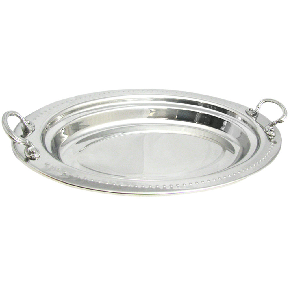 "Bon Chef 5388HRSS 19"" x 11"" x 2"" Stainless Steel 2.5 Qt. Bolero Design Oval Food Pan with Round Stainless Steel Handles"