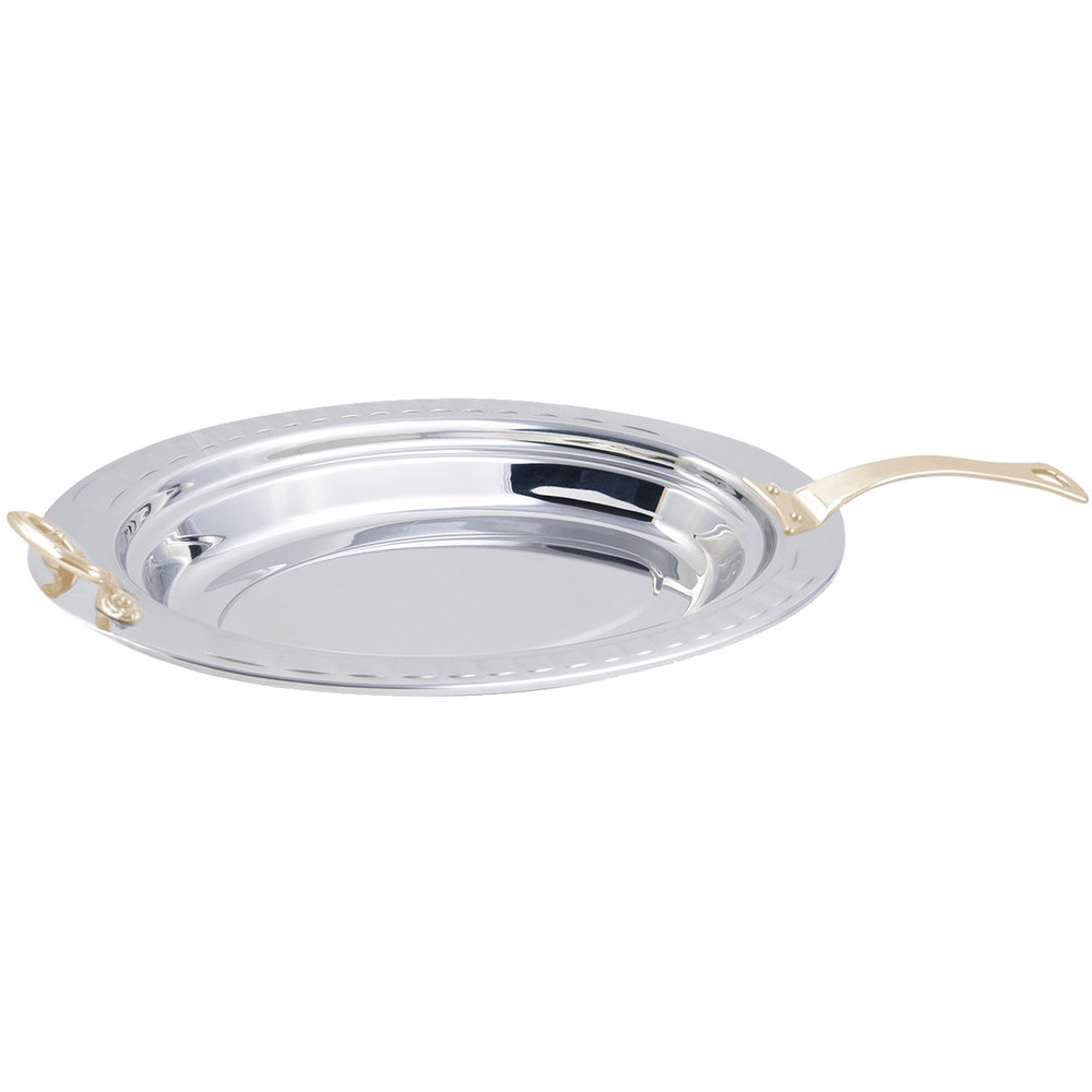"Bon Chef 5688HL 19"" x 11"" x 2"" Stainless Steel 2.5 Qt. Arches Design Oval Food Pan with Long Brass Handle"