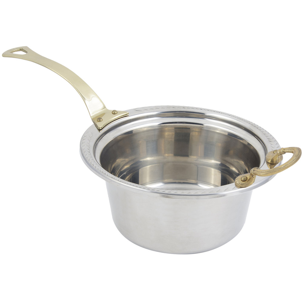"Bon Chef 5460HL 12"" x 12"" x 6"" Stainless Steel 5 Qt. Casserole Laurel Design Food Pan with Long Brass Handle"