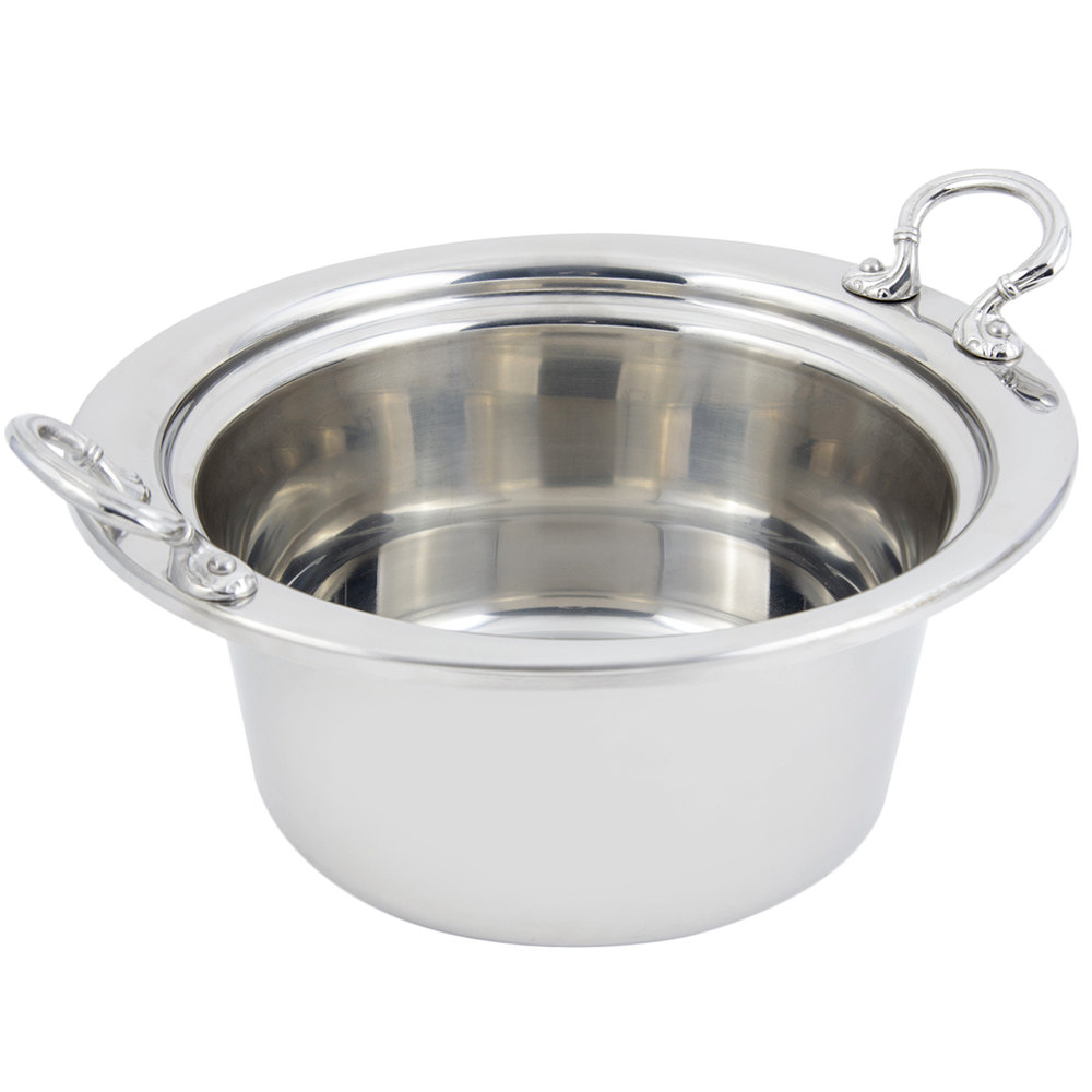 "Bon Chef 5250HRSS 10"" x 9"" x 5"" Stainless Steel 2 Qt. Plain Design Casserole Food Pan with Round Stainless Steel Handles"