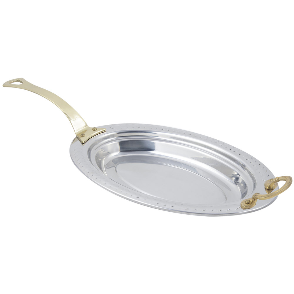 "Bon Chef 5488HL 19"" x 11"" x 2"" Stainless Steel 2.5 Qt. Oval Laurel Design Food Pan with Long Brass Handle"