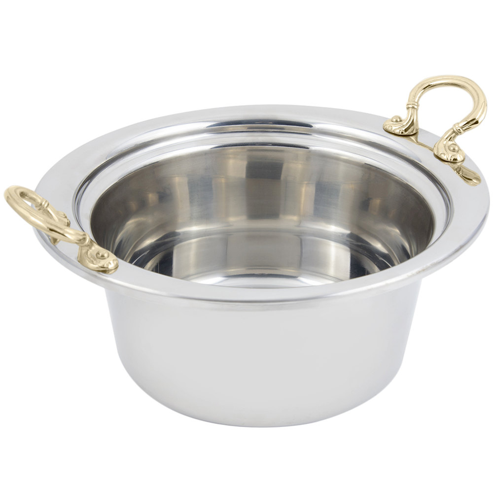 "Bon Chef 5260HR 12"" x 12"" x 6"" Stainless Steel 5 Qt. Plain Design Casserole Food Pan with Round Brass Handles"