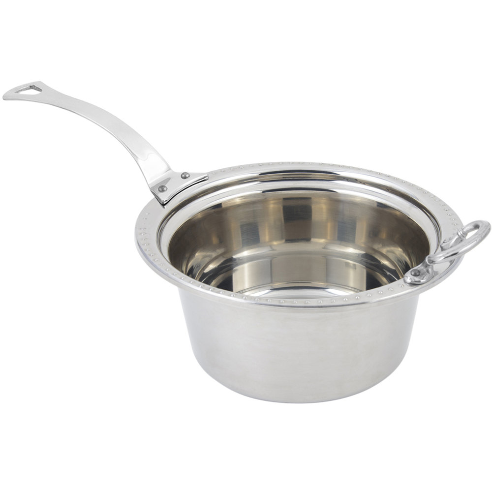 "Bon Chef 5360HLSS 12"" x 12"" x 6"" Stainless Steel 5 Qt. Bolero Design Casserole Food Pan with Long Stainless Steel Handle"