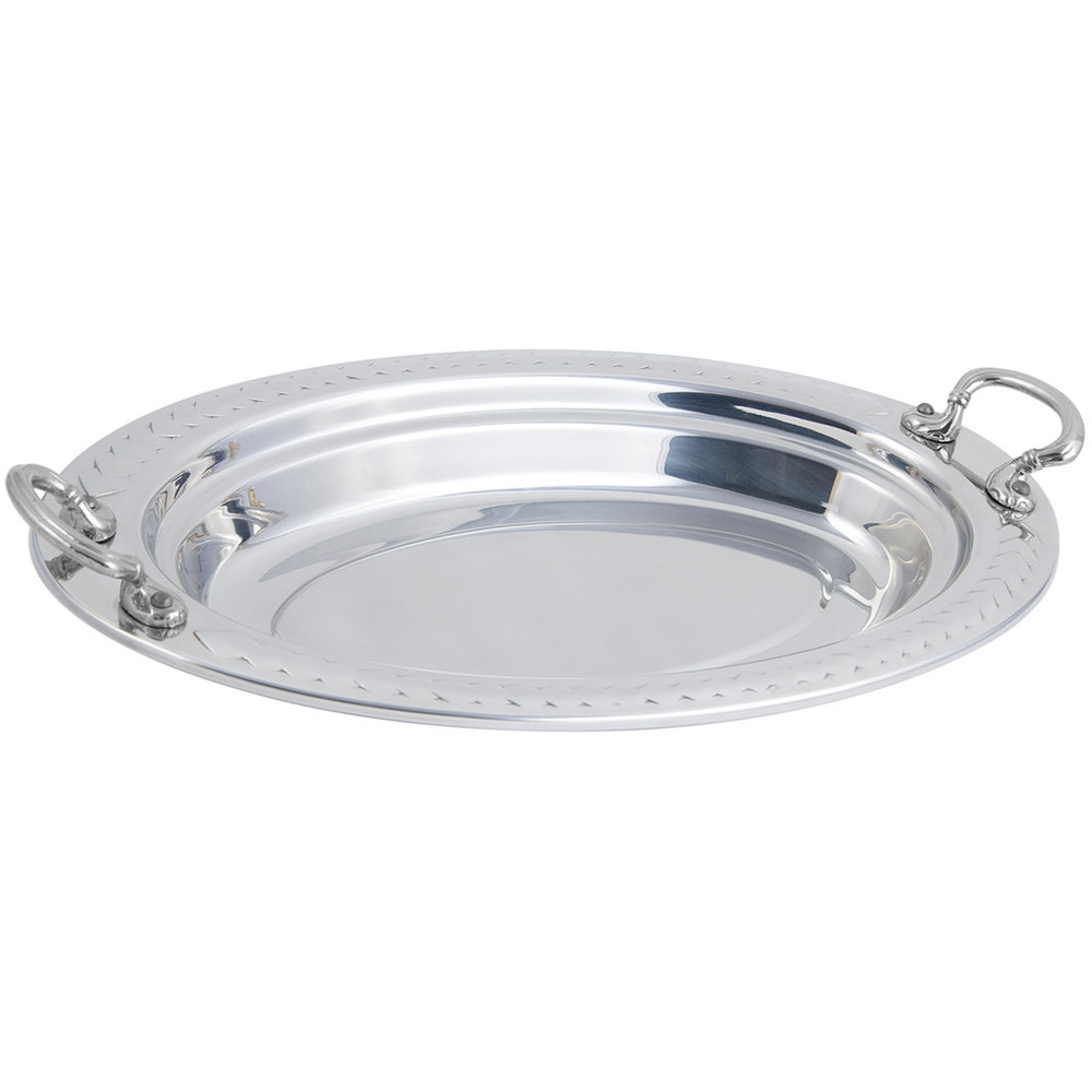 "Bon Chef 5488HRSS 19"" x 11"" x 2"" Stainless Steel 2.5 Qt. Oval Laurel Food Pan with Round Stainless Steel Handles"