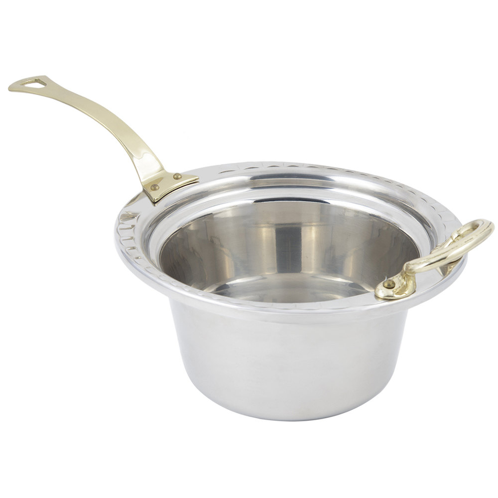"Bon Chef 5650HL 10"" x 9"" x 5"" Stainless Steel 2 Qt. Arches Design Casserole Food Pan with Long Brass Handle"